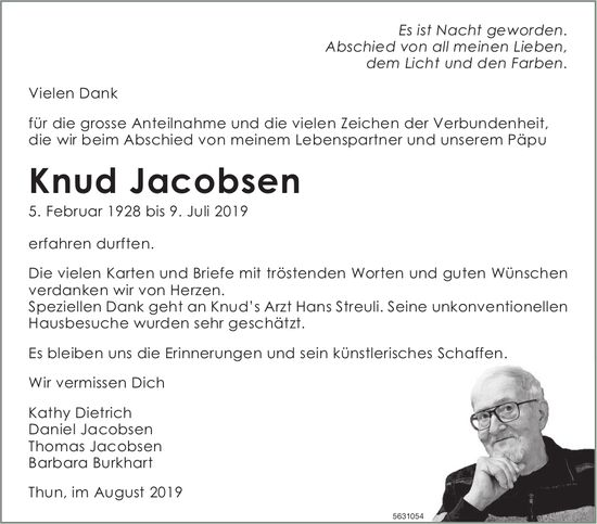 Jacobsen Knud, im August 2019 / DS
