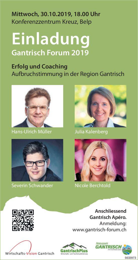 Einladung Gantrisch Forum 2019, 30. Okt., Belp