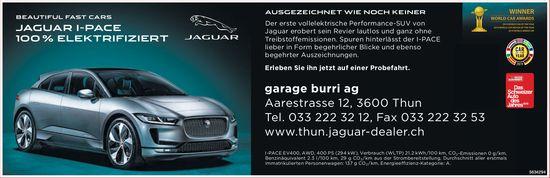 Garage BurriAG - BEAUTIFUL FAST CARS, JAGUAR I-PACE 100 % ELEKTRIFIZIERT