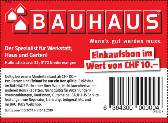 Bauhaus, Niederwangen - Der Spezialist für Werkstatt, Haus und Garten!