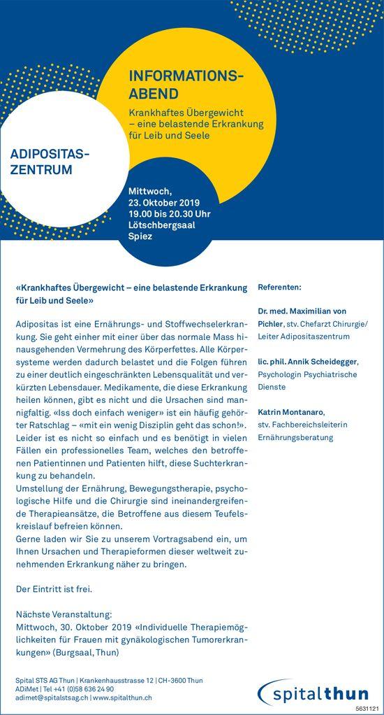 Spital STS - Info-Abend «Krankhaftes Übergewicht, belastende Erkrankung für Leib & Seele», am 23.10.
