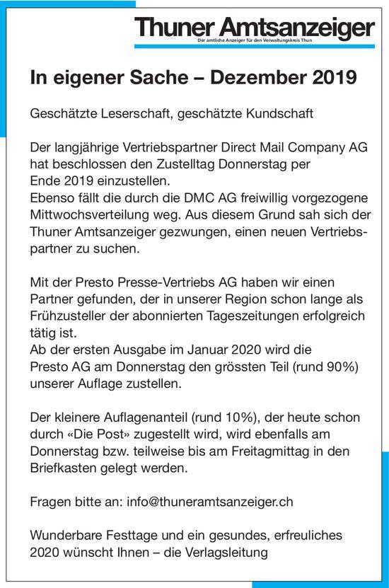 Thuner Amtsanzeiger - In eigener Sache – Dezember 2019