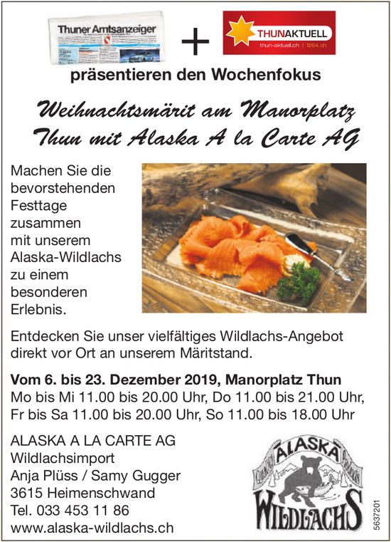Weihnachtsmärit am Manorplatz Thun mit Alaska A la Carte AG vom 6. bis 23. Dezember