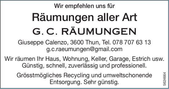 G. C. RÄUMUNGEN - Wir empfehlen uns für Räumungen aller Art
