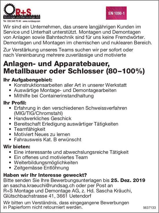 Anlagen- & Apparatebauer, Metallbauer / Schlosser (80–100%), R+S Montage und Demontage AG, Uetendorf