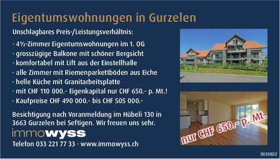· 4½-Zimmer Eigentumswohnungen im 1. OG in Gurzelen zu verkaufen