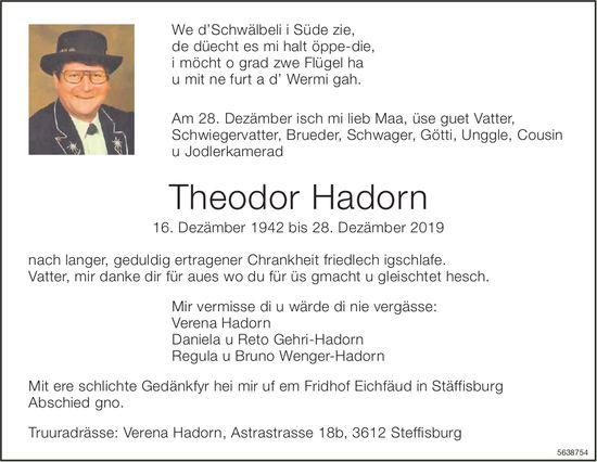 Hadorn Theodor, Dezember 2019 / TA