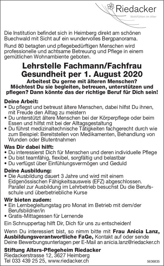 Lehrstelle Fachmann/Fachfrau Gesundheit, Stiftung Alters-Pflegeheim Riedacker, Heimberg, zu vergeben