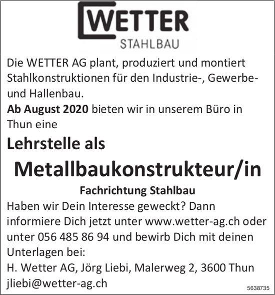 Lehrstelle als Metallbaukonstrukteur/in Fachrichtung Stahlbau bei Wetter Stahlbau zu besetzen