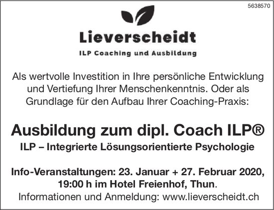 Ausbildung zum dipl. Coach ILP –  Info-Veranstaltungen: 23. Januar + 27. Februar