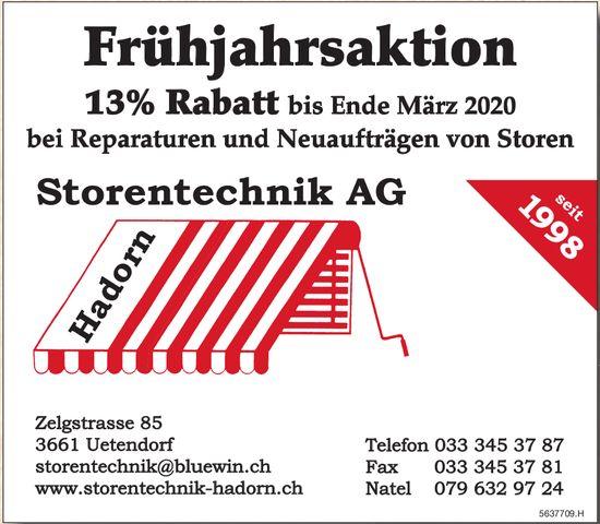 Storentechnik AG - Frühjahrsaktion 13% Rabatt bis Ende März 2020