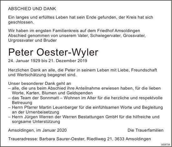 Oester-Wyler Peter, im Januar 2020 / TA/DS