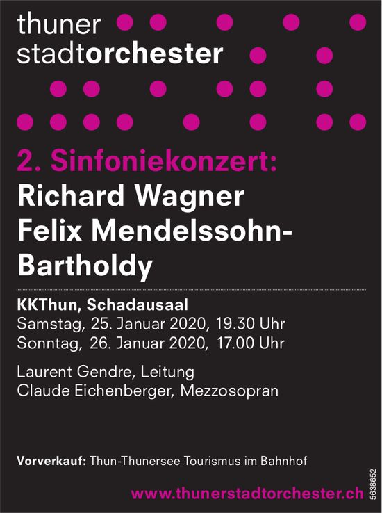 Thuner Stadtorchester - 2. Sinfoniekonzert, 25. + 26. Januar