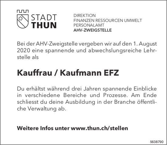 Lehrstelle als Kauffrau / Kaufmann EFZ bei AHV-Zweigstelle Stadt Thun zu besetzen