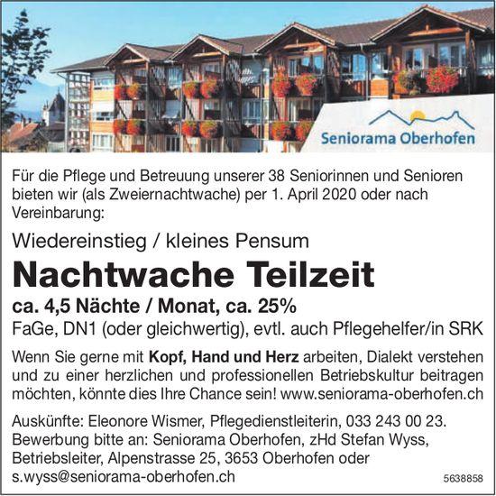 Nachtwache Teilzeit, Seniorama Oberhofen, Gesucht