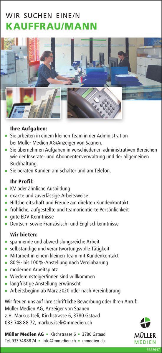 KAUFFRAU/MANN, Müller Medien AG,  Gstaad, Gesucht