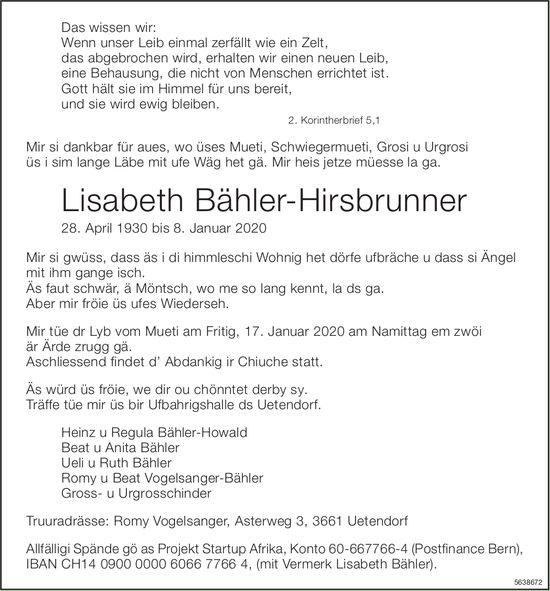 Bähler-Hirsbrunner Lisabeth, Januar 2020 / TA
