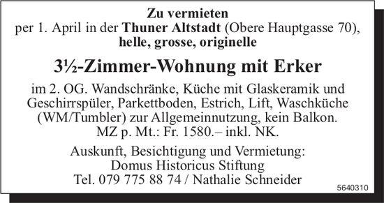 3½-Zimmer-Wohnung mit Erker in der Thuner Altstadt zu vermieten