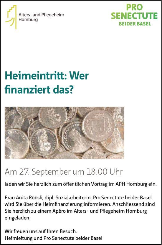 """Vortrag """"Heimeintritt: Wer finanziert das?"""", 27. September, APH Homburg"""