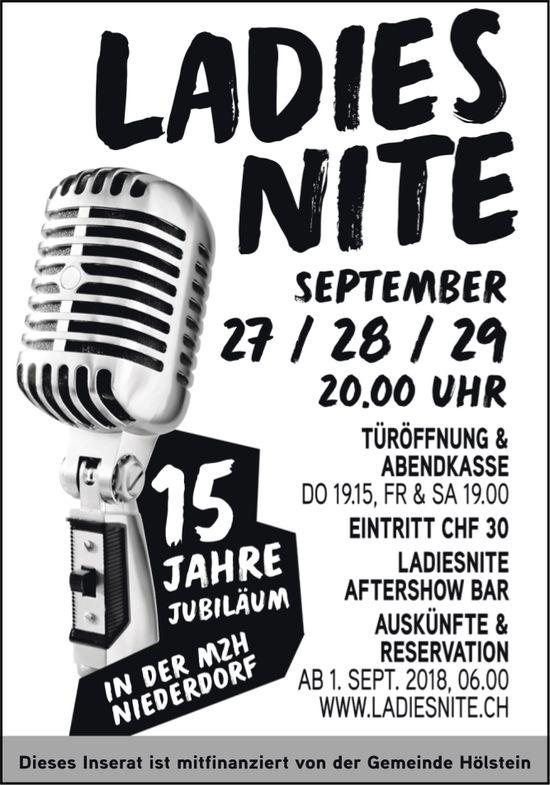 Ladies Nite, 27. bis 29. September, MZH Niederdorf
