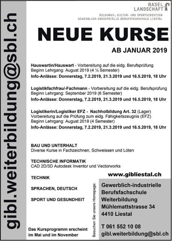 Gewerblich-industrielle Berufsfachschule, Liestal - Neue Kurse