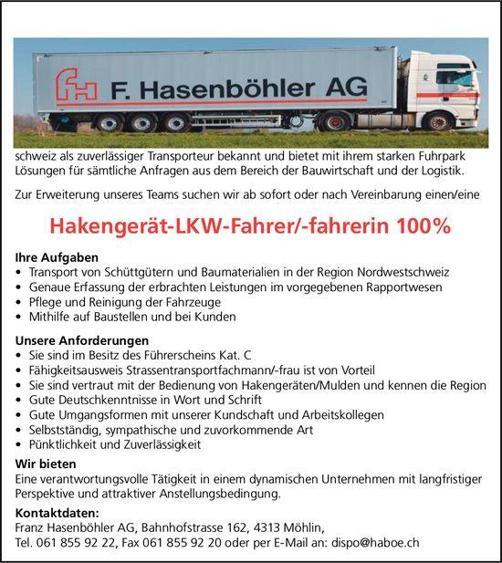 Hakengerät-LKW-Fahrer/-fahrerin, Hasenböhler AG, Möhlin, gesucht