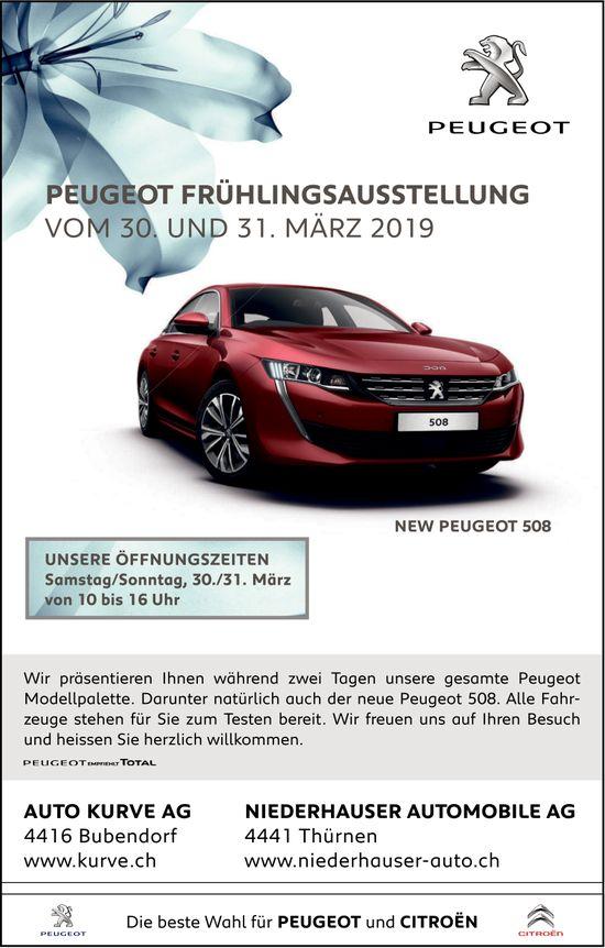 Peugeot Frühlingsausstellung, 30. und 31. März, Auto Kurve AG, Bubendorf