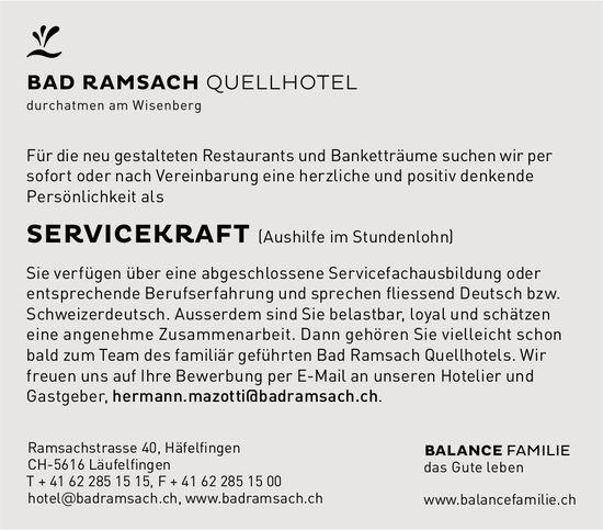 Servicekraft, Bad Ramsach, Quellhotel, Läufelfingen, gesucht
