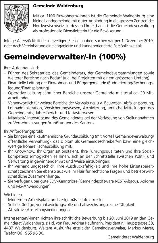 Gemeindeverwalter/-in, Gemeinde Waldenburg, gesucht