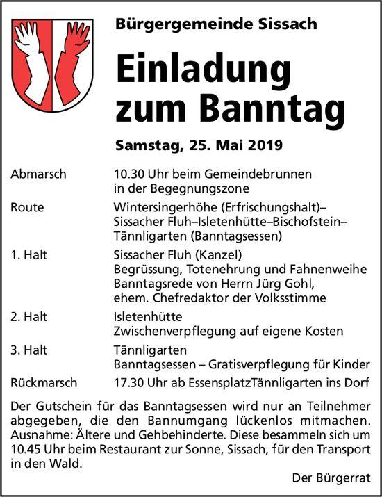 Einladung zum Banntag, 25. Mai, Gemeindebrunnen, Sissach