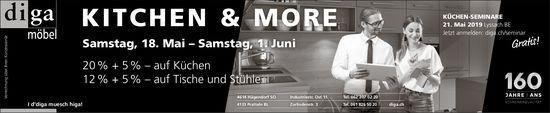 Kitchen & More, 18. Mai bis 1. Juni, Diga Möbel, Pratteln