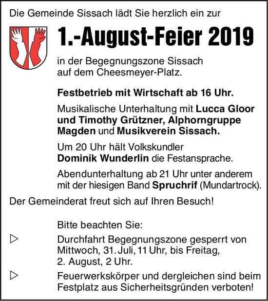 1.-August-Feier, Begegnungszone Sissach