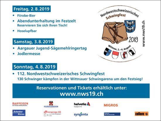 Nordwestschweizerisches Schwingfest 2. bis 4. August, Wittnau