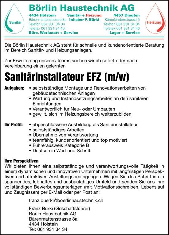 Sanitärinstallateur EFZ (m/w), Börlin Haustechnik AG, Hölstein, gesucht
