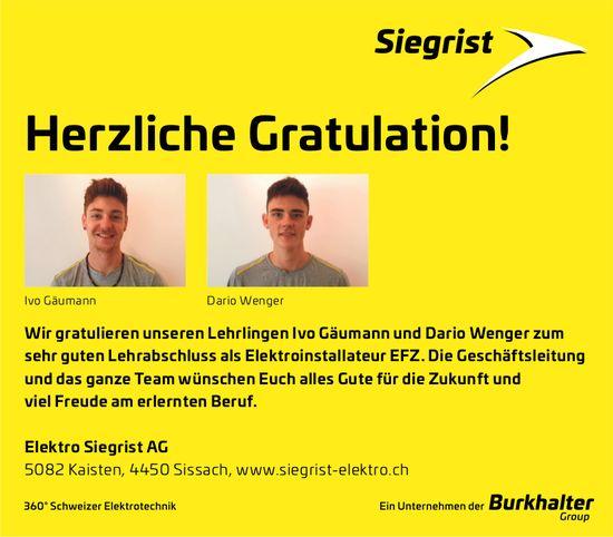 Elektro Siegrist AG gratuliert Ivo Gäumann und Dario Wenger zur bestandenen LAP
