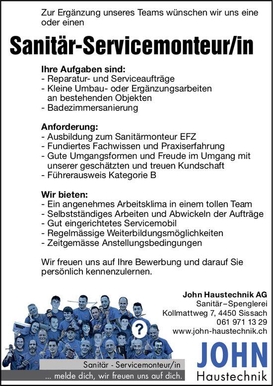 John Haustechnik sucht: Sanitär-Servicemonteur/in