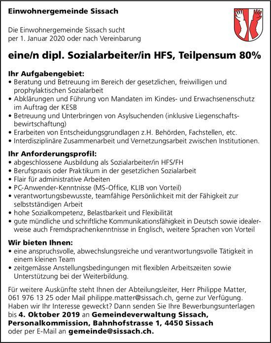 Dipl. Sozialarbeiter/in HFS, Einwohnergemeinde Sissach, gesucht