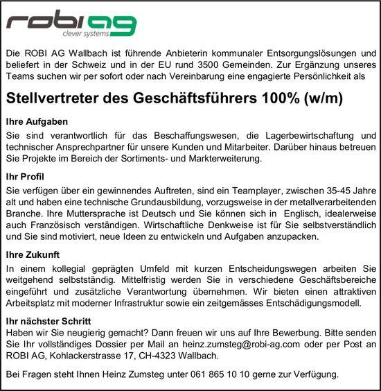Stellvertreter des Geschäftsführers (w/m), Robi AG, Wallbach, gesucht