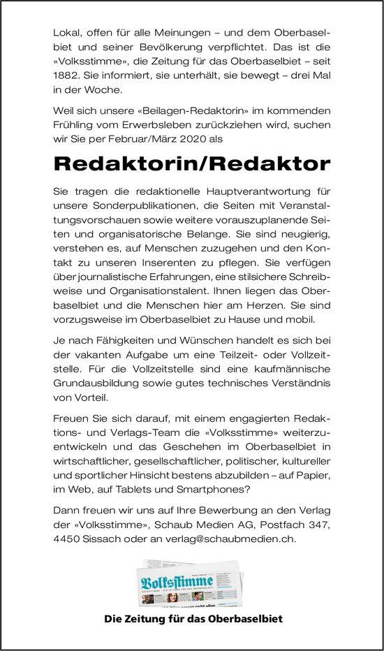 Redaktorin/Redaktor gesuch