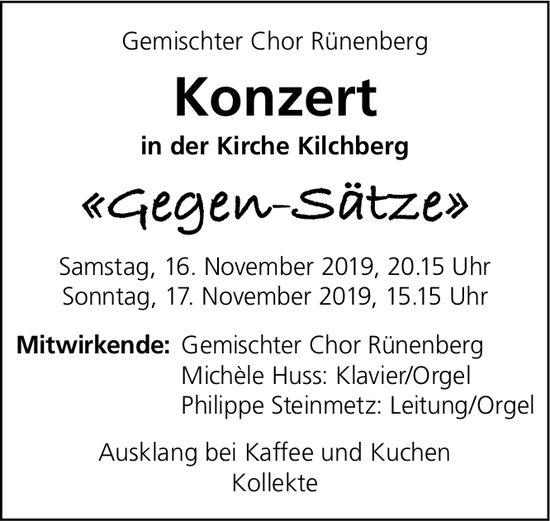 Gemischter Chor Rünenberg, Konzert, 16. und 17. November, Kirche Kilchberg