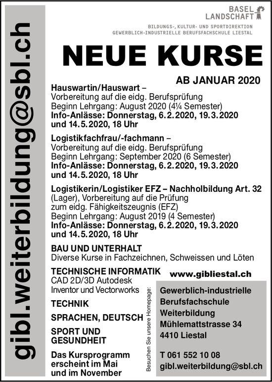 Gewerblich-industrielle Berufsfachschule, Neue Kurse, Liestal
