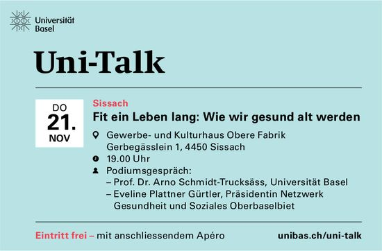 """Fit ein Leben lang"" - Uni Talk am 21. November in Sissach"