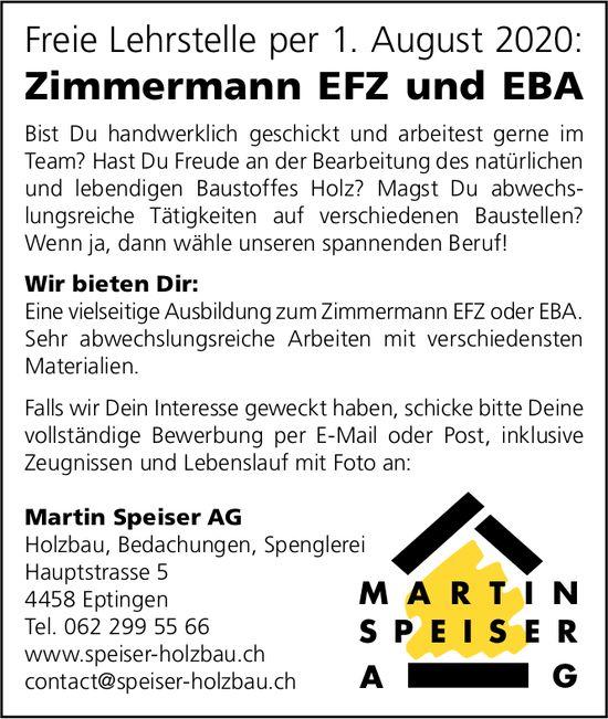 Freie Lehrstelle als Zimmermann EFZ und EBA, Martin Speiser AG, Holzbau, Eptingen