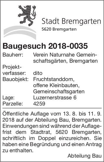 Stadt Bremgarten - Baugesuch 2018-0035