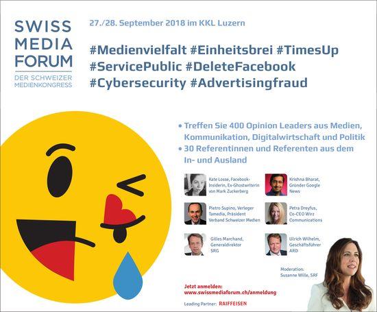 SWISS MEDIA FORUM, 27./28. September im KKL Luzern