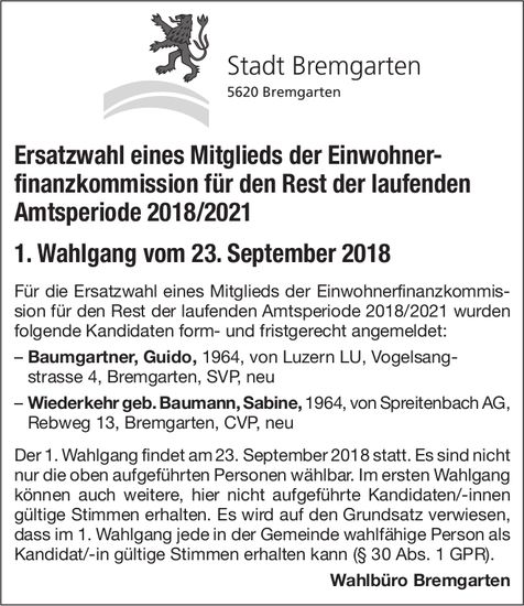 Stadt Bremgarten: Ersatzwahl eines Mitglieds der Einwohnerfinanzkommission