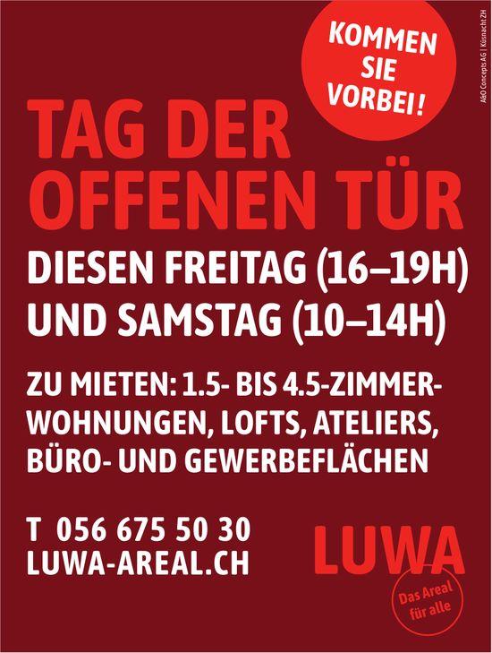 1.5- bis 4.5-Zi-Whg u.a. zu vermieten, Tag der offenen Tür diesen Freitag und Samstag, Luwa Areal