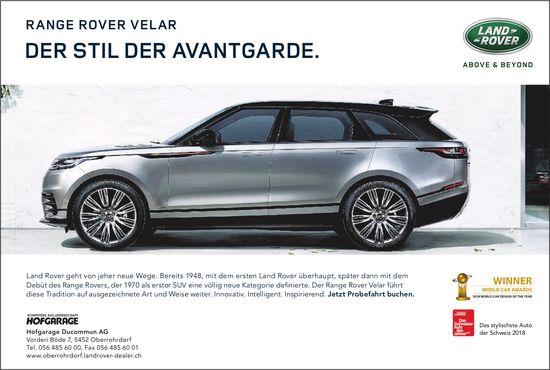 Hofgarage Ducommun AG - RANGE ROVER VELAR: DER STIL DER AVANTGARDE.