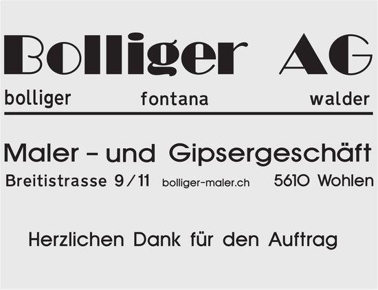 Bolliger AG, Maler- und Gipsergeschäft - Herzlichen Dank für den Auftrag