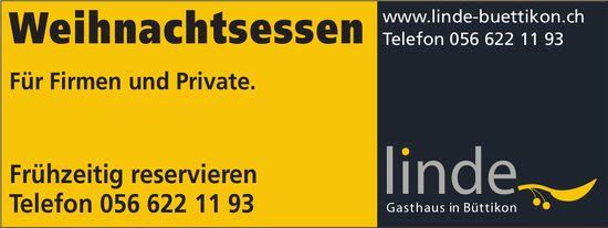 Linde Gasthaus in Büttikon - Weihnachtsessen. Für Firmen und Private.